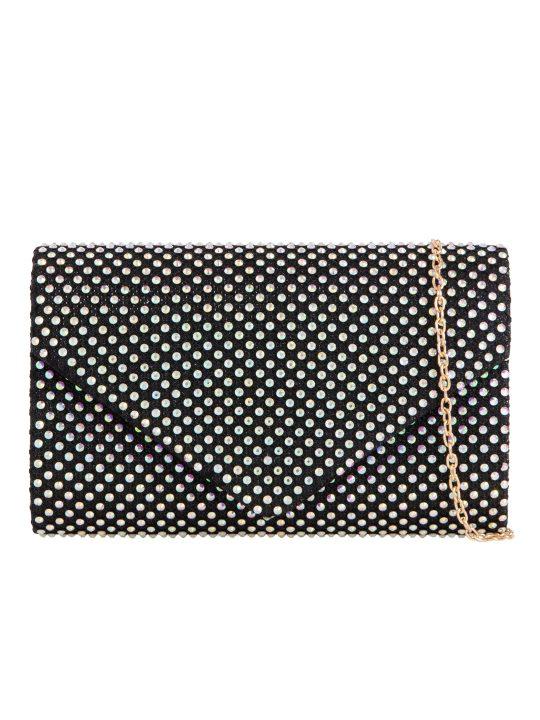 Black Diamante Envelope Clutch Bag