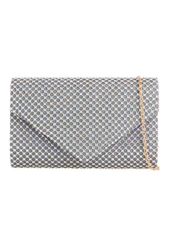 Silver Diamante Envelope Clutch Bag