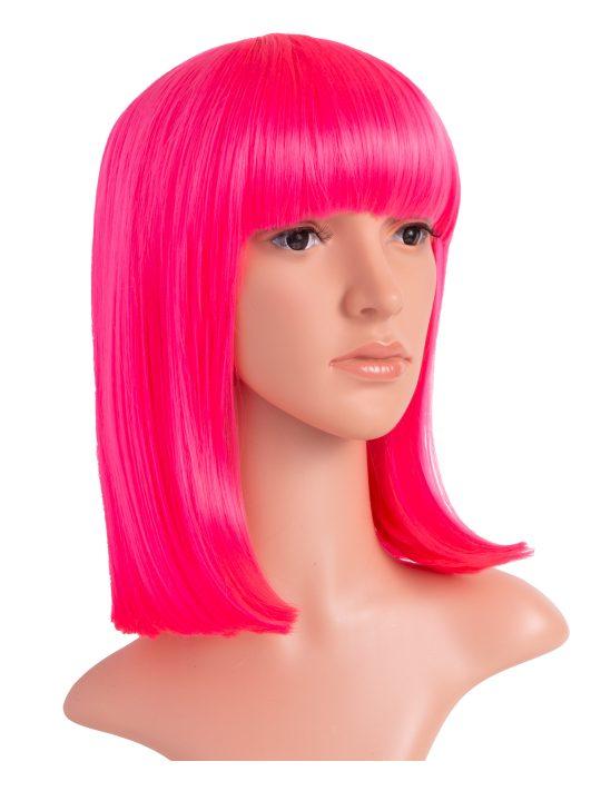 Carnation Pink Long Bob Party Wig