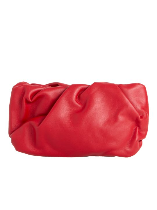 Red Ruched Clutch Bag