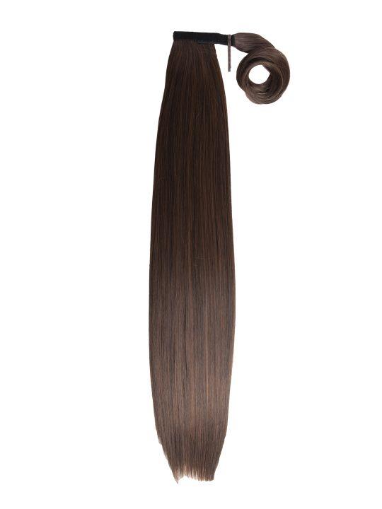 26 Inch Straight Warm Brunette Wraparound Ponytail