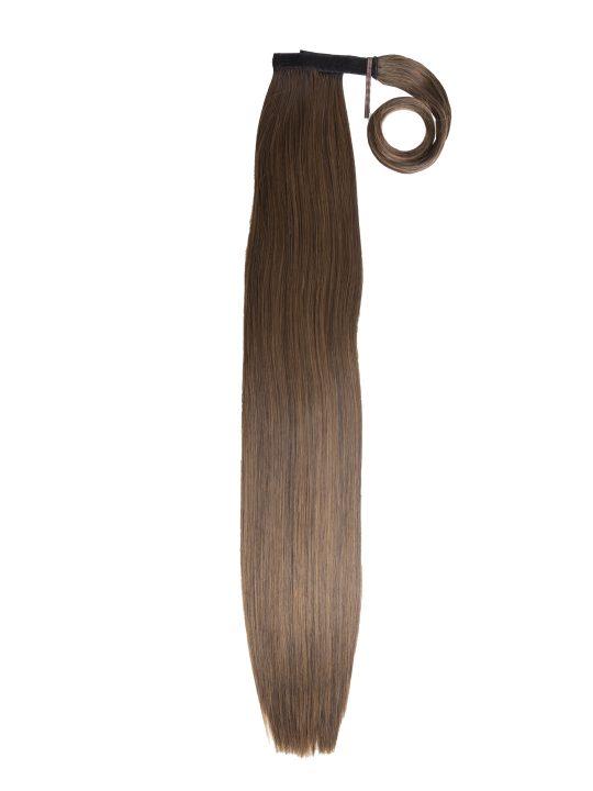 Straight Dark Brown and Caramel Wraparound Ponytail