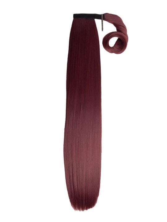 26 Inch Straight Burgundy Wraparound Ponytail