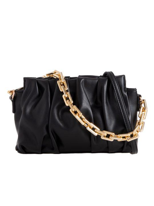 Black Ruched Chain Clutch