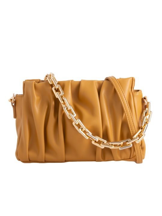 Yellow Ruched Chain Clutch